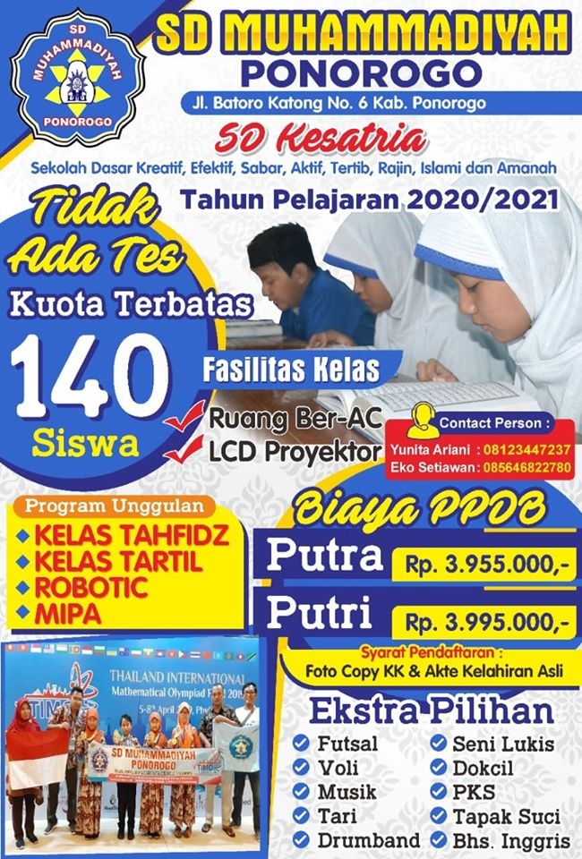 Mari Bergabung Dengan SD Muhammadiyah Ponorogo Tahun Pelajaran 2020/2021